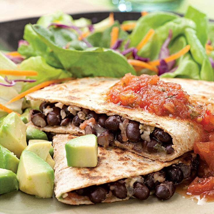 In a hurry? These satisfying quesadillas take just 15 minutes to make. We like them with black beans, but pinto beans work well too. If you like a little heat, be sure to use pepper Jack cheese in the filling. Serve with: A little sour cream and a mixed green salad.