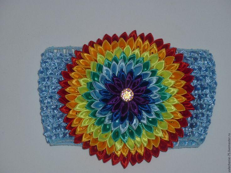 """Купить Повязка для волос """"Радужный цветок"""" - комбинированный, повязка для волос, радуга, радужный, нарядное украшение"""