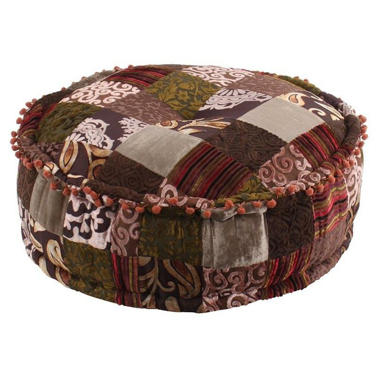 Stool with rayon velvet, sheesham wood and brown patchwork www.inart.com