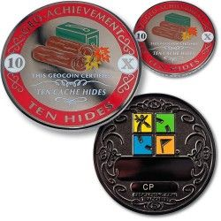 10 Hides Geo-Achievement Set for all the Markers who make this game possible, give the gift of a 10 Hide Geo-coin available @ratherbecaching.ca