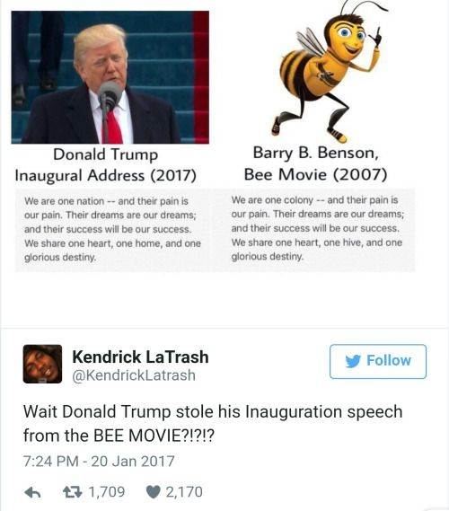 THIS IS WHY HE'S A DUMBASS!!! FIRST IT WAS MELANIA AND MICHELLE AND NOW IT'S TRUMP AND THE FUCKING BEE MOVIE WHAT THE HELL
