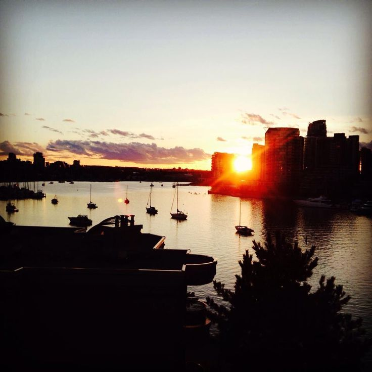 Sunset over false creek from Cambie St bridge