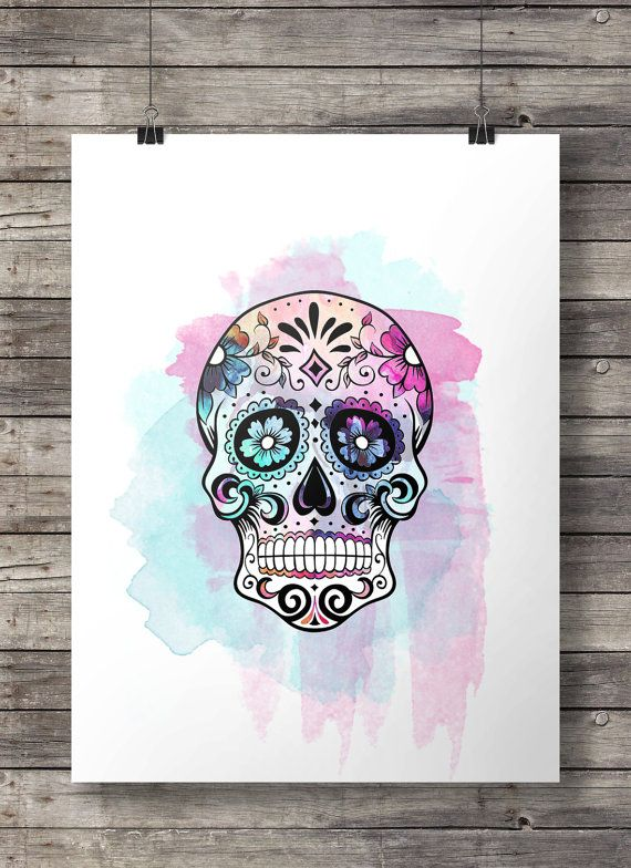 Watercolor Sugar Skull -  Printable wall art  - Instant download digital print