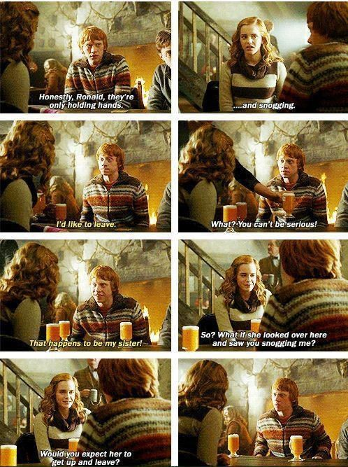 Romione moment--his face. No matter what J.K.Rowling says, Ron and Hermione forever