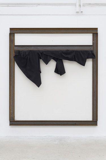 Jannis Kounellis, Senza Titolo, 2015, sheet metal, coats, beams, 224 x 204 cm. Galleria Continua Les Moulins 2015. Photo by Oak Taylor-Smith.