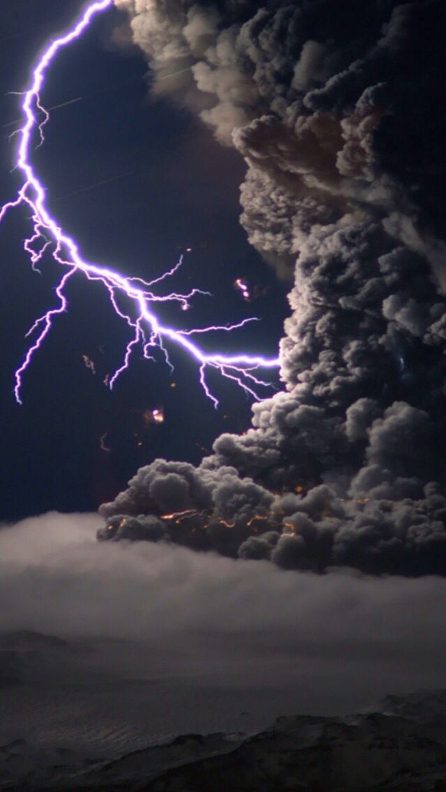 Lightning within a volcanic eruption
