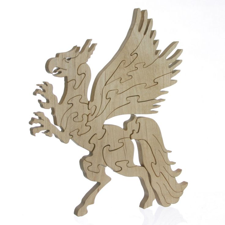Wood Griffin Puzzle Hand cut Maple by JoliLimited on Etsy