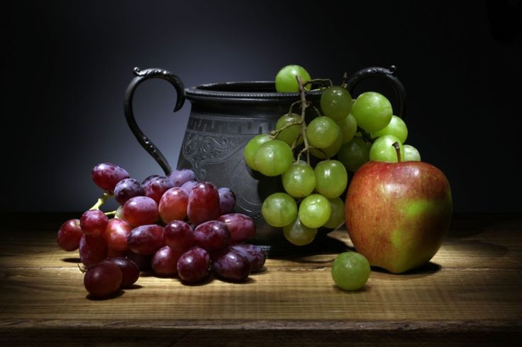 "Ken Hunter Photography Still life photo ""Grapes, Apple & Pewter Jug"""