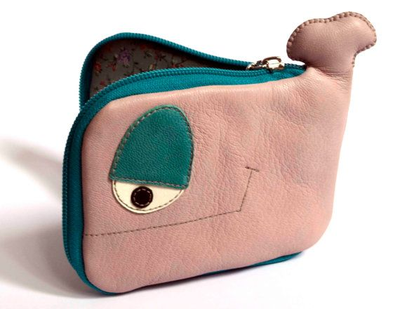 Little Light Pink and turquoise Whale leather by ritaboth121, $29.00