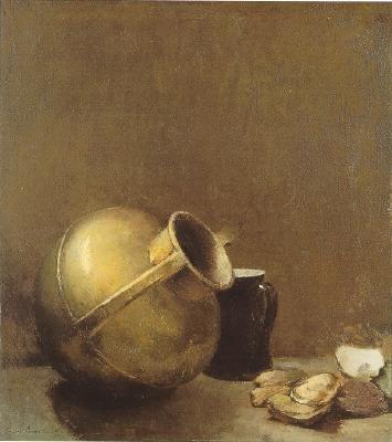 Sören Emil Carlsen (Danish/American, 1853-1932) Still Life with Oysters and Brass Jug