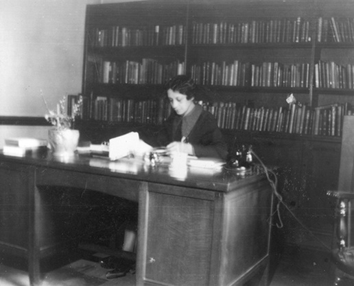 One of my idols, Vivian G. Harsh at work in the Chicago Public Library. She is known as the librarian who established research collections related to African-American history well before public awareness of the topic grew.{r}