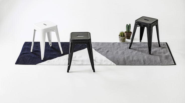 Création d'une gamme de Tapis HORIZON pour la société Danoise RUGSOLID en coton recyclé (filet de pêche et pure laine) - par Jocelyn Deris