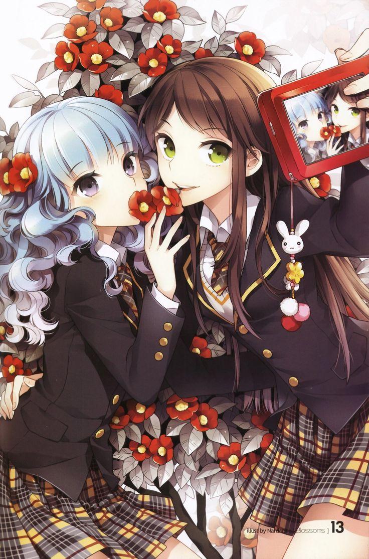 anime with camera   ... cameras, seifuku, gray hair, anime girls, Nardack, scans :: Wallpapers