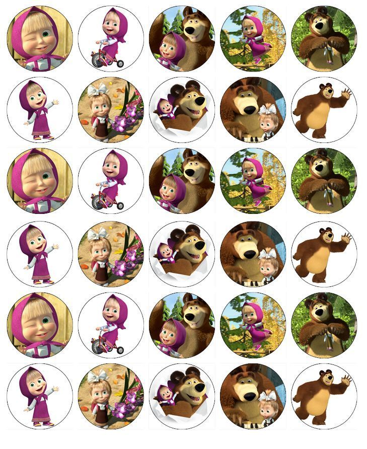 Masha And The Bear Cupcake Toppers Edible Wafer Paper BUY 2 GET 3RD FREE