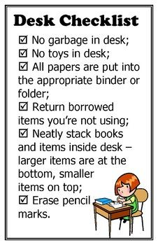 Desk Tidying Expectations Checklist Poster Freebie