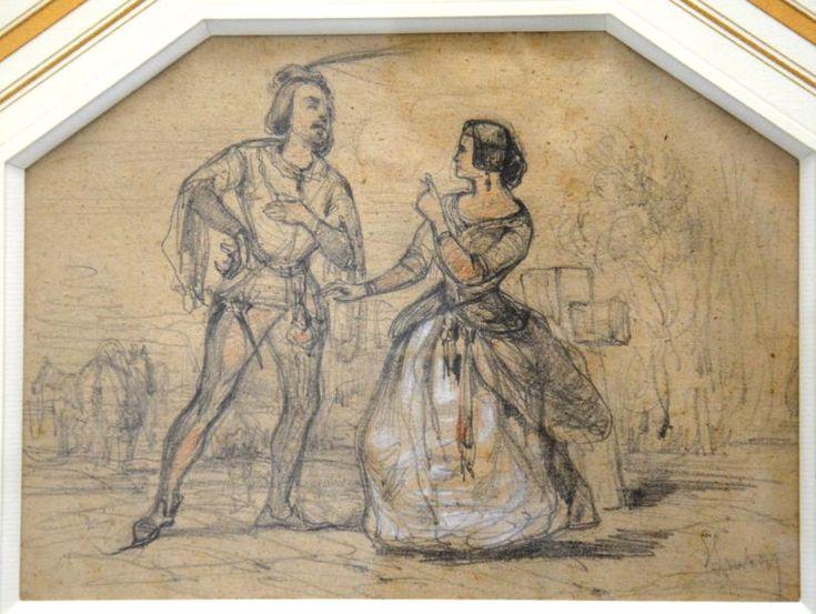 """Émile LOUBON (1809-1863) """"Couple Moyen-Ageux"""".  Dessin aux trois crayons signé en bas à droite.  16 x 21,5 cm. - Sophie Himbaut - 10/11/2017"""