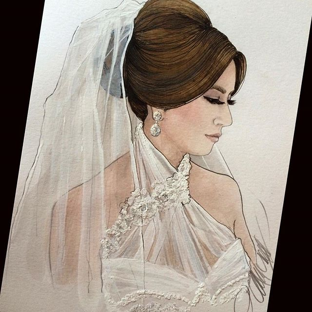 A look back at this gorgeousness! Stunning @alexlouka_2210 with bridal hair by @kykhair #bridalillustration #bridalportrait  For Illustration enquiry- please contact- karenorrillustration@gmail.com