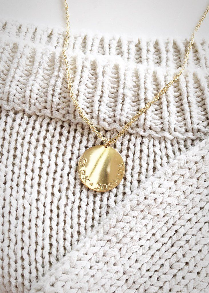 da341865c533a Personalized Roman Numeral Gold Disc Necklace - Makamae | Gold ...