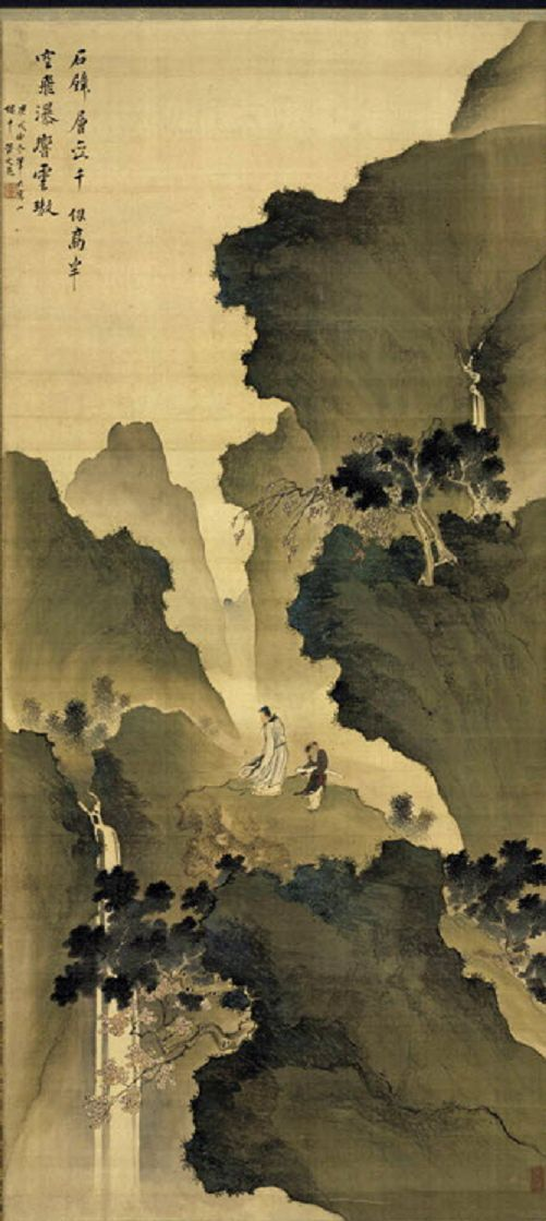 Watching a Waterfall, 1790.  Tani Bunchō (Japanese, 1763-1840). Hanging scroll, ink and color on silk. The Cleveland Museum of Art. Detail  ...