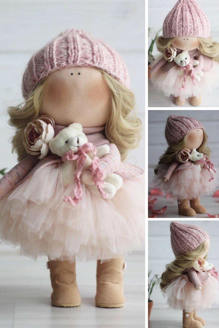 Handmade doll Puppen Bambole Baby doll Tilda doll Textile doll Fabric doll Cloth doll Rag doll Art doll Nursery doll Pink doll by Oksana Z