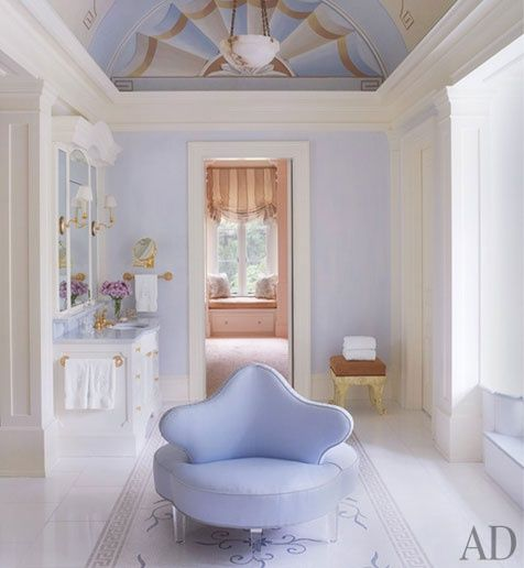 WOW ~ I love all the pale blue, especially the conversation chair in the middle of the room!