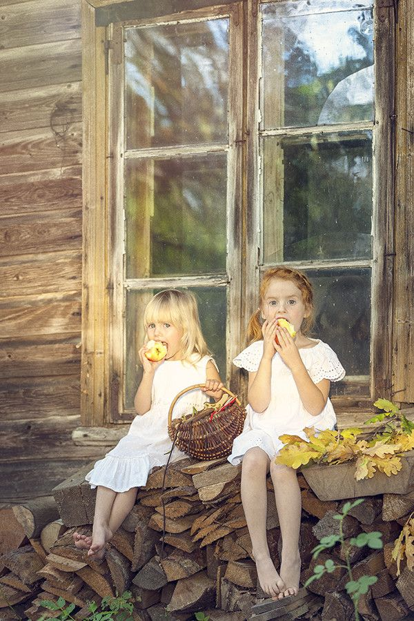 Autumn's dream by Kristi Metsa. Adorable little girls in such simplicity, contented.