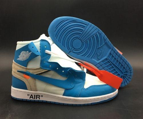 new style f4049 b1286 Authentic OFF WHITE x Air Jordan 1 White University Blue AQ0818-148 -  Mysecretshoes