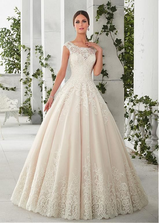 Buy discount Charming Tulle & Satin Scoop Neckline A-Line Wedding Dresses With Lace Appliques at Magbridal.com