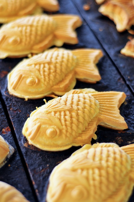 taiyaki; a fish waffle with red bean paste or different flavors<3