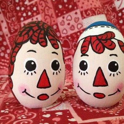 Raggedy Ann and Andy wooden eggs  painted with acrylics