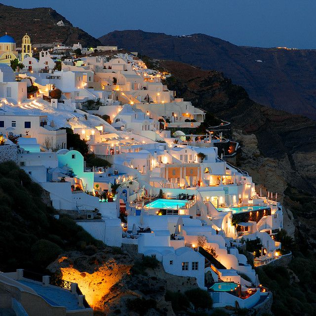 Oai at dusk in Santorini, Greece