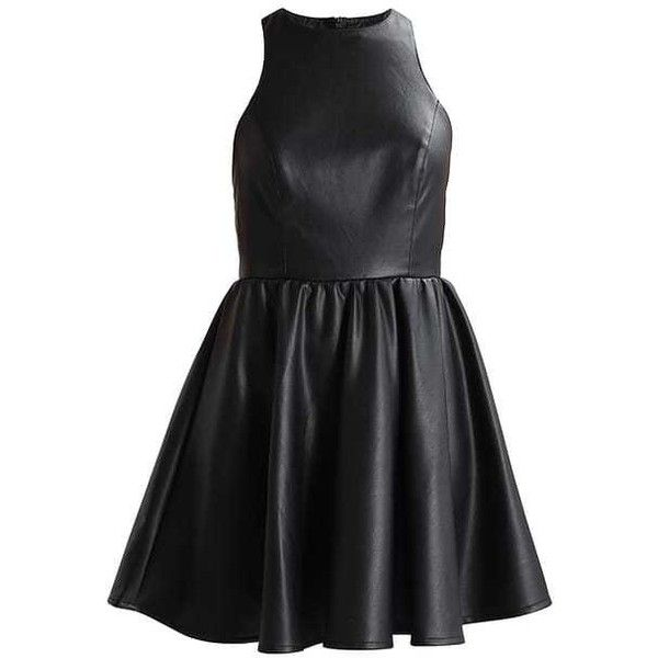 GO PU SKATER Cocktail dress Party dress black ($46) ❤ liked on Polyvore featuring dresses, skater cocktail dress, pu dress and skater dresses