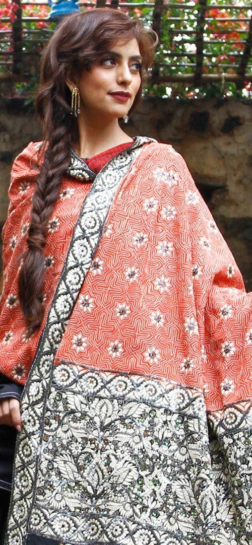 Silk Crepe Shawl with Bengali Muslim style Kantha embroidery - original pin by @webjournal
