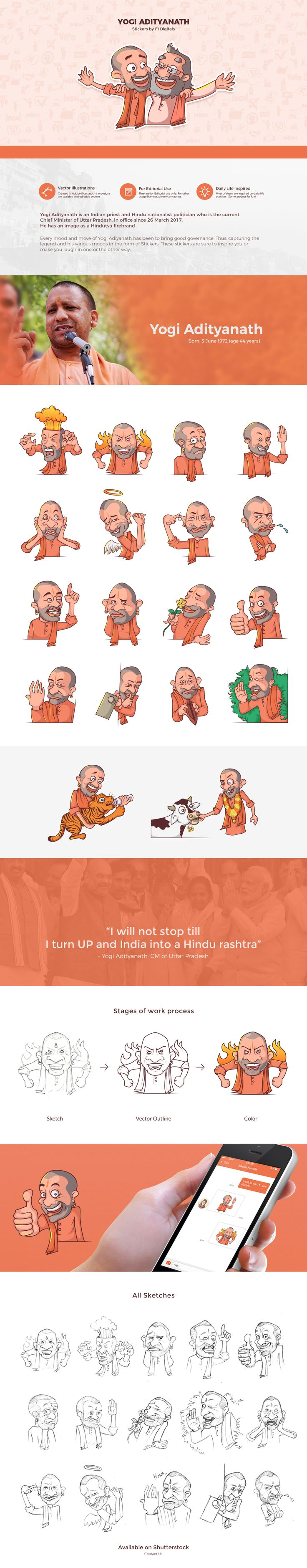 Yogi Adityanath Stickers Design  Every mood and move of Yogi Adiyanath has been to bring good governance. Thus, capturing the legend and his various moods in the form of Stickers. These stickers are sure to inspire you or make you laugh in one or the other way.