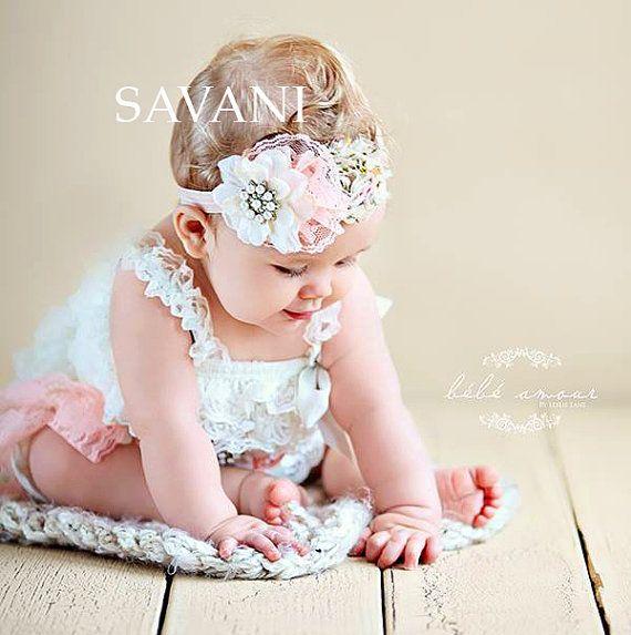 Flower girl, Baby girls outfit ,3 pcs ivory peach petti romper, headband, newborn photo props,Girl Baby petti rompers , flower baby girl