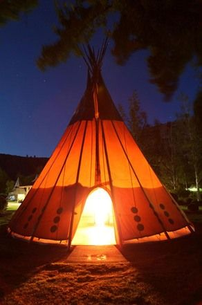 camp in a tee pee