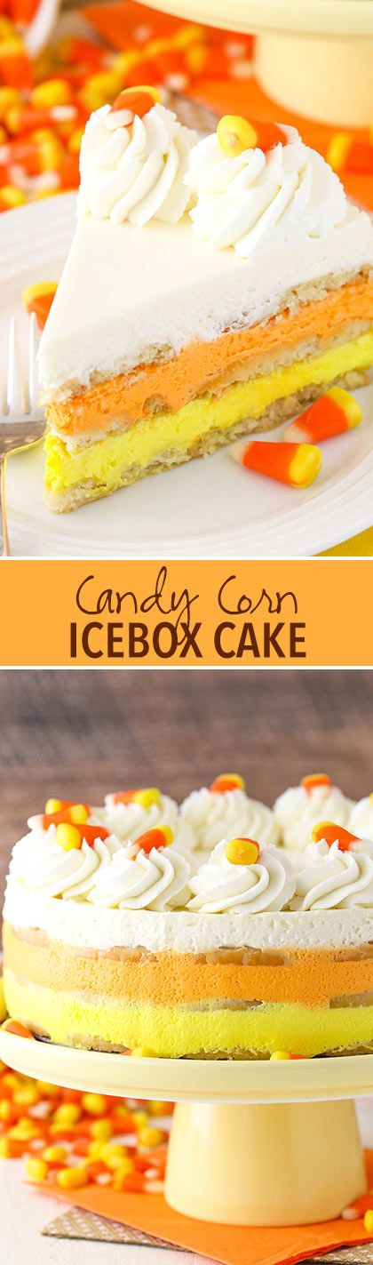 Candy Corn Icebox Cake - no bake with layers of shortbread and vanilla mousse! Great for Halloween!