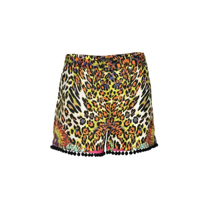 NaughtyDog SS15 satin shorts with leopard print.