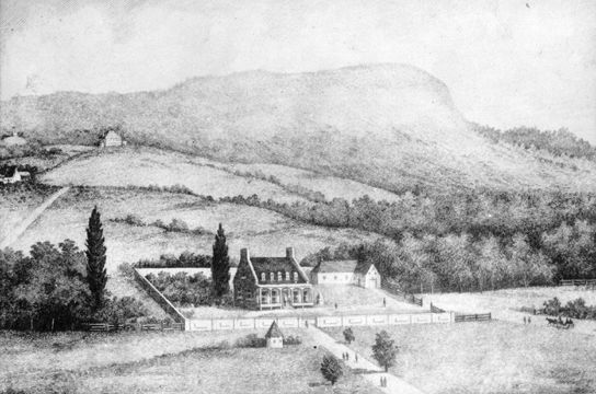19th century engraving of Burnside, James McGill's country home outside Montreal (the site is now part of the McGill University campus)