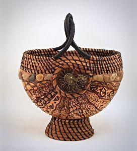 """""""Ammonite Doodle Basket"""" by Lisa Baurmeister Pine Needles ~  x"""