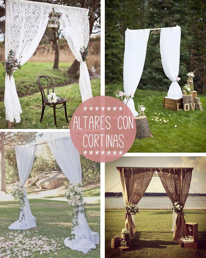 ¿Una boda fuera de una iglesia? Ideas para montar un altar de boda lowcost, diy y lleno de personalidad.