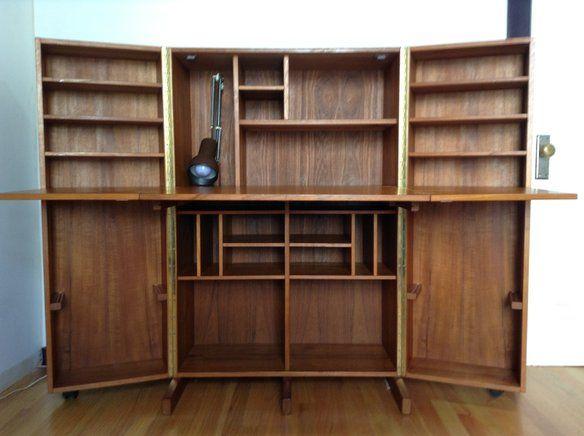 Vintage Danish Modern Teak Cabinet Desk For The Home