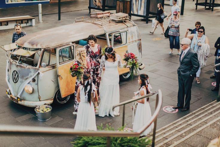 kombi campervan  wedding car flowers  boho wedding