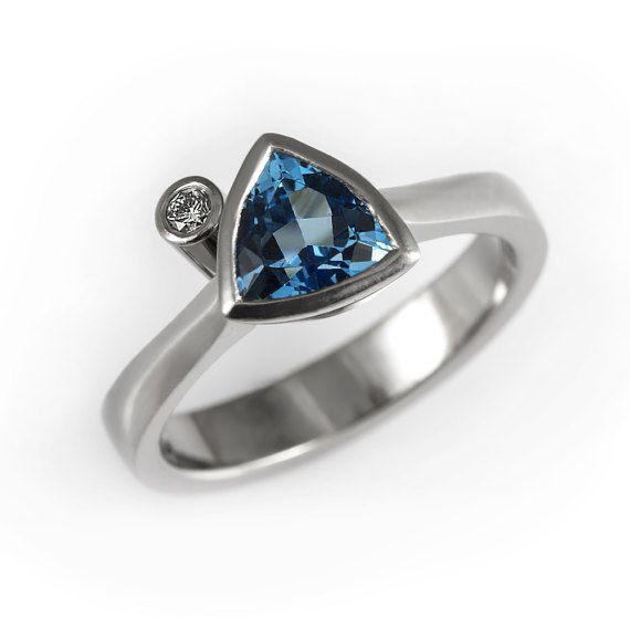 Blue topaz engagement ring unique diamond ring by KorusDesign