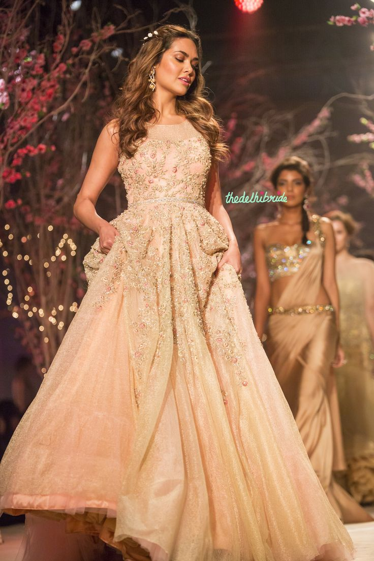 Esha Gupta luxurious pastel bridal gown Jyotsna Tiwari India Bridal Fashion Week 2014