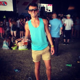 Wireless Festival outfit... Topman Vest, American Apparel Chino Shorts.