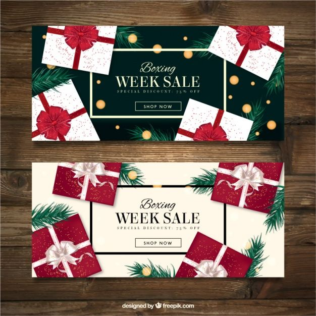 Boxing week banners of elegant gifts  Free Vector