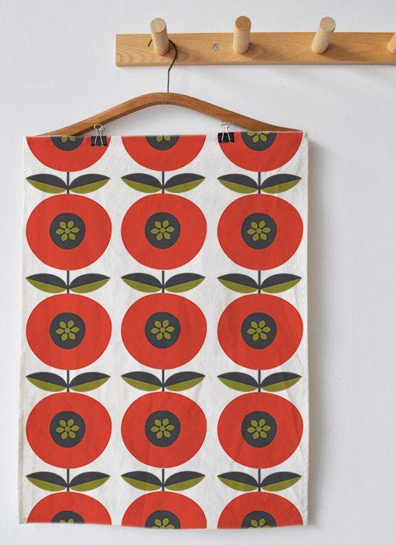 red orange tea towel scandinavian design mid di frandesignstore