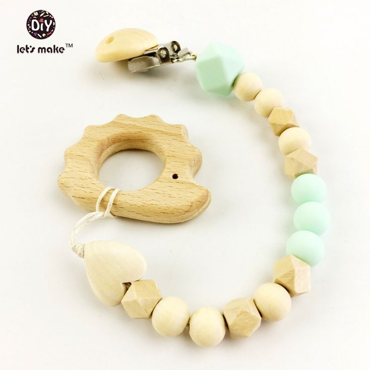 baby teether dummy clips Silicone and Wood Teether Cute Animal Pacifier Clip wooden beads developmental toy