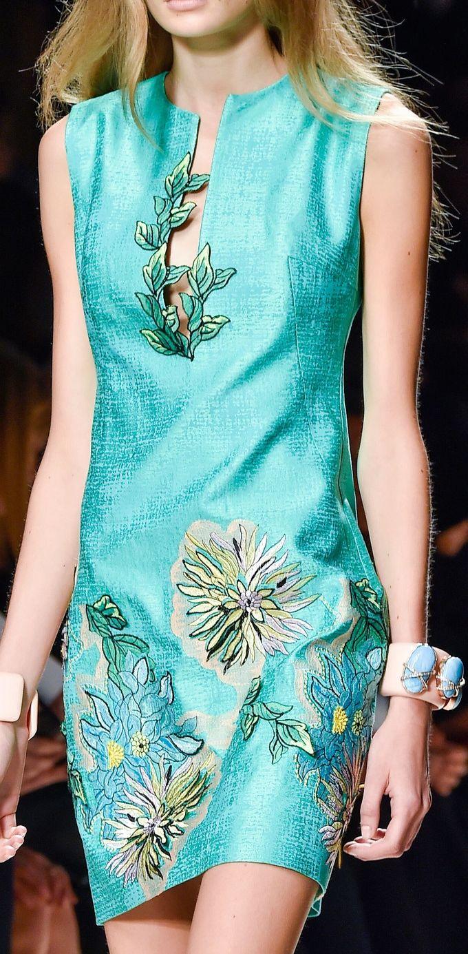Blumarine ~ Spring Silk Mini Dress, Aqua w Floral Print, 2015, Milan